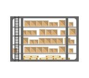 Armazene o suporte com as caixas da entrega no projeto liso Fotografia de Stock