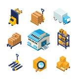 Armazém e grupo do ícone do equipamento da logística liso Imagem de Stock Royalty Free