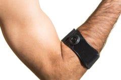Armbågen förbinder på en man& x27; s-hand - isolat Royaltyfri Fotografi