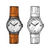 Armbandsur eller klockarmbandklocka, klassisk man med armbandet tillbehör för tidspårning Viktoriansk era Dragen inristad hand stock illustrationer