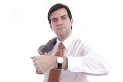 Armbanduhr gezeigt von einem Geschäftsmann Stockbilder