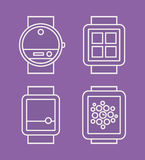 Armbanduhr-Telefon, flache weiße Linie gezeichnete Ikone Lizenzfreies Stockfoto