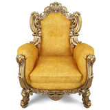 Armchair. Elegant armchair of yellow chamois leather and gold-plated body. isolated on white Royalty Free Stock Photography