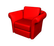 Armchair. 3d generated red armchair over white background Stock Photography