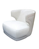 Armchair. White leather armchair at the white background Royalty Free Stock Photography
