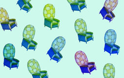 Armchair blue. Pattern of several armchair of blue tones, mint color background Royalty Free Stock Image