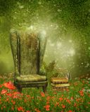 Armchair and books on a meadow. Old armchair and books on a green meadow with poppy flowers Stock Images