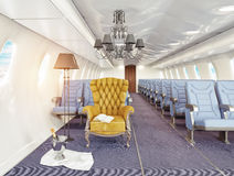 Armchair in cabin. Luxury armchair in airplane cabin. 3d creativity concept royalty free illustration