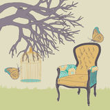 Armchair and Cage royalty free illustration