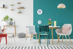 Green apartment interior Stock Image