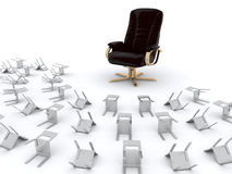 Armchair and chairs croud Royalty Free Stock Image