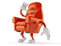 Armchair character looking up. Isolated on white background Royalty Free Stock Photo