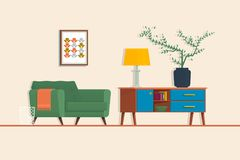 Armchair, couch, lamp. Isolated vector objects.Living room. Vector flat illustration. Stock Photo