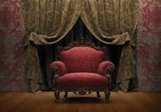 Armchair and courtain Royalty Free Stock Images