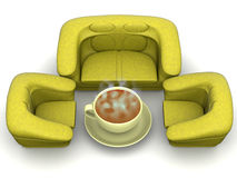 Armchair with cup of coffee. 3d Royalty Free Stock Photo