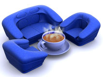 Armchair with cup of coffee Stock Photos