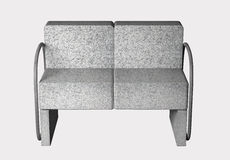 Armchair. 3D rendering of an uncomfortable stone armchair Stock Photos