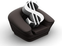 Armchair with dollar Royalty Free Stock Images