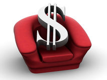 Armchair with dollar Royalty Free Stock Image