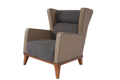 Armchair. Elegant soft arm-chair isolated on white. Armchair with fabric upholstery Royalty Free Stock Photos