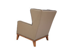 Armchair. Elegant soft arm-chair isolated on white. Armchair with fabric upholstery Royalty Free Stock Photography