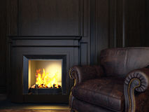Armchair and fireplace Royalty Free Stock Photo