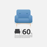 Armchair in flat design for living room interior. Minimal icon for furniture sale poster. Blue armchair on white background. Stock Photography