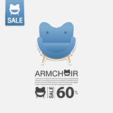 Armchair in flat design for living room interior. Minimal icon for furniture sale poster. Blue chair on white background. Stock Images