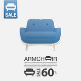 Armchair in flat design for living room interior. Minimal icon for furniture sale poster. Vector. Armchair in flat design for living room interior. Minimal icon Royalty Free Stock Images