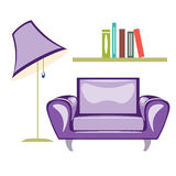 The armchair and floor lamp vector. The armchair and floor lamp isolated on white background vector illustration