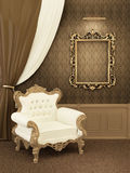 Armchair with frame in royal apartment interior Stock Image