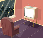Armchair in front of TV Icon on Room Window Night City Background Cartoon Design Vector Illustration. Armchair front of TV Icon on Room Window Night City Royalty Free Stock Image