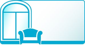 Armchair and glossy window on blue background Royalty Free Stock Photos