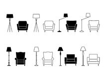 Armchair icon set. Illustration of lounge pictogram on white. Armchair icon set. Illustration of lounge pictogram on white Stock Photo