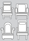 Armchair icons isolated on gray Royalty Free Stock Photo