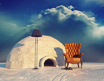 Armchair and igloo. Luxury armchair in winter landscape and igloo (3d concept Stock Photography