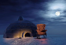 Armchair and igloo. Luxury armchair in winter landscape and igloo (3d concept Royalty Free Stock Photo
