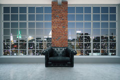 Armchair in interior at night Stock Photography