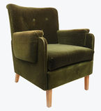 Armchair isoalted. Old fashioned green armchair isolated on white with clipping path Royalty Free Stock Images