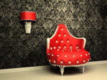Armchair with lamp in interior with pattern. Wallpaper Royalty Free Illustration