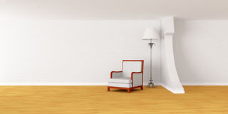 Armchair with lamp in modern minimalist interior Royalty Free Stock Images