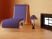 Armchair and lamp in a room Royalty Free Stock Image