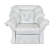 Armchair leather white Stock Image