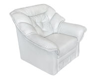 Armchair leather white Stock Photos