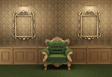 Armchair with luxurious frame in baroque interior Stock Photography