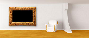 Armchair with modern frame in modern interior Stock Image