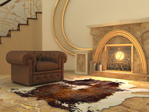 Armchair near fireplace in modern. Armchair and fell by fireplace in modern interior. Hall. Royal Apartment. Old nature styled Royalty Free Illustration
