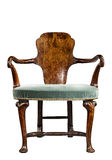 Armchair old antique unusual shape isolated on white with clippi Stock Photo