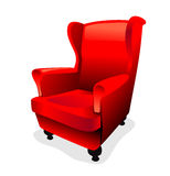 Armchair. Old wing chair with red fur fabric upholstery Stock Photos