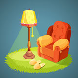 Armchair with pillows, green carpet on floor, lamp shade. With lights on, slippers isolated on blue. Vector illustration of comfortable place for rest in retro Royalty Free Stock Image